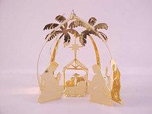 Lunt Manger Ornament 24K Gold Plate 3 Dimensional
