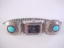 Navajo Sterling Turquoise Watch Clips and Watch Signed