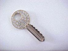 Rhinestone Studded Key Pendant Pave Neck