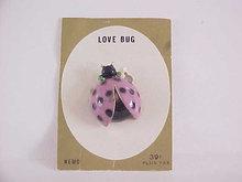 Love Bug Pin Enamel Signed Nemo Original Card Vintage Lady