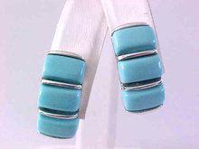 LISNER Blue Earrings Baby Thermoset Silver Tone Vintage