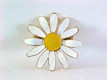 Vintage Daisy Pin Flower White Yellow 1970s Enamel