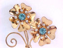 Fabulous Retro Double Flower Pin Blue Crystal Rhinestones Large Vintage