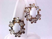 Austria Milk Glass Rhinestone Flower Earrings Vintage