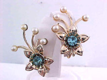 Blue Rhinestone Earrings Faux Pearl Spray Flower Vintage