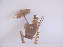 CORO Old Car Pin Brooch Trembler Man Top Hat Umbrella