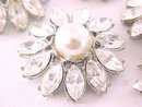 Rhinestone Flower Buttons Faux Pearls Vintage Large 7 Total