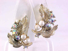 Lisner Aurora Borealis Earrings Leaves Faux Pearls Vintage