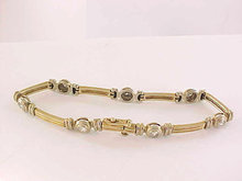 14K Two Tone Diamond Bracelet 1.12 CTS Line Tennis Gold Estate