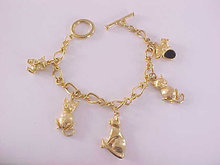 Cats Charm Bracelet Kitty 5 Charms Toggle