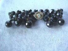 Carnival Black Faceted woven bracelet w/drops