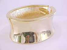 Wide Hinged Clamper Bracelet MOD Curved Gold Tone