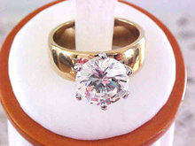 BLING! CZ 4.5 CTS Cubic Zirconia Solitaire 6 Prong 2 Tone Wide Band