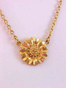 Crown Trifari Flower Necklace Vintage Logo Dangle Vintage