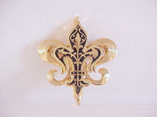 Fleur De Lis Pin Vintage Double Black Gold Tone Beautiful!