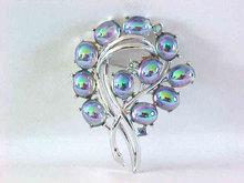 Peacock AB Stones Pin Brooch Aurora Borealis Rhinestones Vintage Stunning