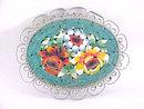 Silver Mosaic Pin Floral Filigree Vintage Italian