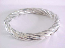 Fabulous Sterling Bracelet Twist Hollow Hinged Hidden Clasp