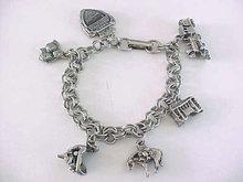 Vintage Charm Bracelet Gold Miner,Train,Knotts Berry 6 Charms