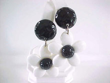Flower Power Earrings Black & White Vintage Pierced Large