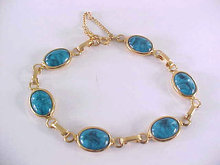 Faux Turquoise Bracelet Link Safety Very Pretty 8 Inches