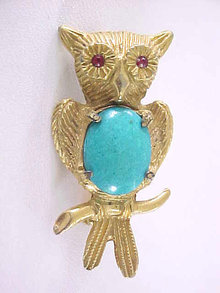 Turquoise Belly Owl Pin Faux Ruby Eyes Vintage