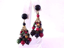 Colorful Chandelier Wood Bead Earrings 1940s Signed
