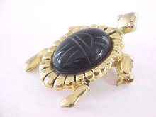 Scarab Turtle Pin Signed Vintage Black Onyx