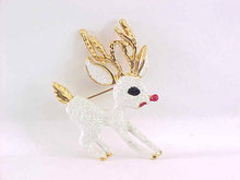 Glitter Rudolph Pin Reindeer Red Nose