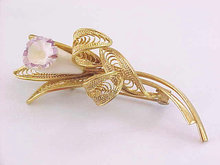 Orchid Filigree Pin Ivory or Resin Flower Gorgeous Vintage