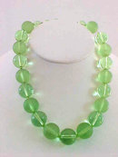 Lime Bubble Necklace Frosted Translucent Adjustable Vintage