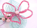 Hand Beaded Flower Pin Glass Unique Mint Pink Large