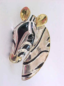 Zebra Head Pendant Large 2 Tone Enamel