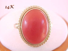 Red Coral 14K Ring Vintage Stunning Cabochon