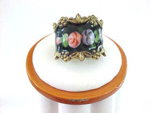 Roses in Guilloche & Sterling Ring, Vintage, Signed