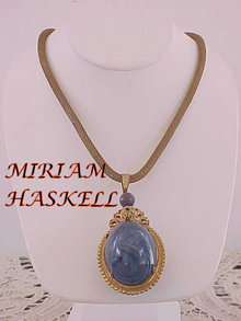 Miriam Haskell Vintage Egg Pendant Necklace BLUE