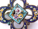 BEST Victorian Micro Mosaic Pin Brooch Signed Antique