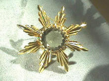 Lg Faceted Smoky Quartz Sunburst Brooch