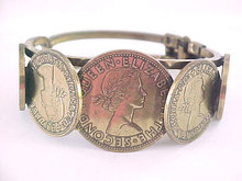 British Coin Clamper Bracelet Vintage Queen