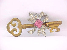 Old Rhinestone Key Pin Ribbon RSs Skeleton