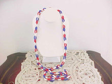 Red White Blue Chain Resin Necklace Vint 52 inches