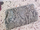 Faux Snakeskin Purse Clutch Black White Vint