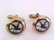 Mallard Duck Cuff Links Reverse Carved Vintage