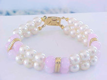 Double Pearl Rose Qtz Bracelet Gold Sterling