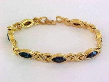Blue Sapphire Bracelet Rhinestone Navettes Xs
