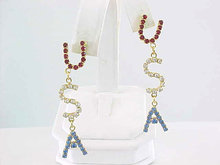 USA Rhinestone Earrings RWB Prcd Dangles