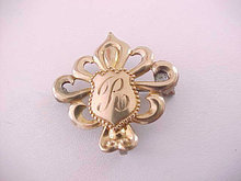 Fleur De Lis Watch Pin Shield R Antique GF