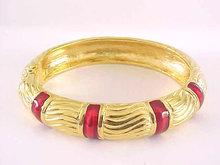 Monet Enamel Clamper Bracelet Red Hinged