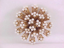 Crown Trifari Atomic Pearl Pin Brooch Vintage