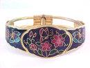 Purple Cloisonne Clamper Bracelet Butterflies